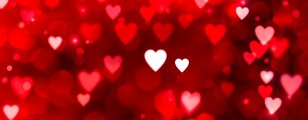 Valentinstag - Abstrakter roter Hintergrund Banner - Bokeh in Herzform