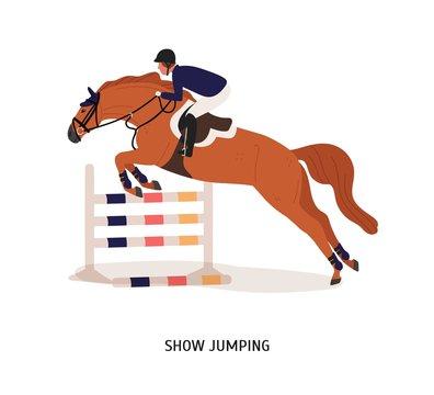 Show jumping flat vector illustration