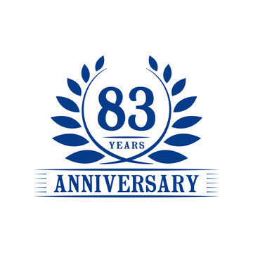 83 years logo design template. Eighty third anniversary vector and illustration.