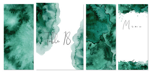 Watercolor green background Hand drawn abstract texture Wall mural