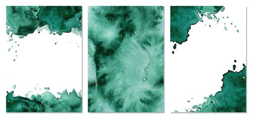 Fototapeta Watercolor green background Hand drawn abstract texture obraz