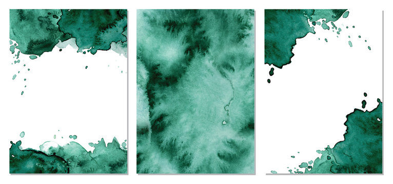 Watercolor green background Hand drawn abstract texture