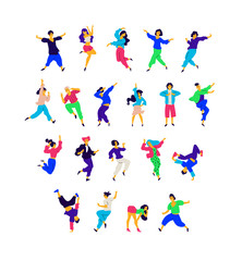 A group of dancing people in different poses and emotions. Vector. Illustrations of men and women. Flat style. A group of happy teenagers are dancing and having fun. Figure for packaging.