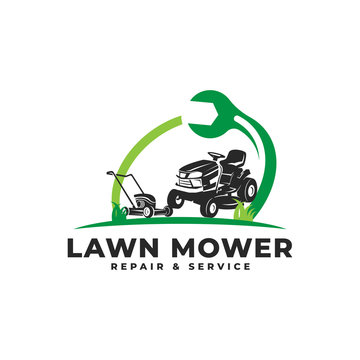 Lawn Mower Repair & Service Maintenance with Wrench Logo Vector Icon Illustration