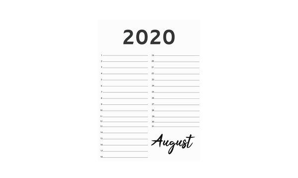 Abstract Art Celebration Calendar 2020 vector design