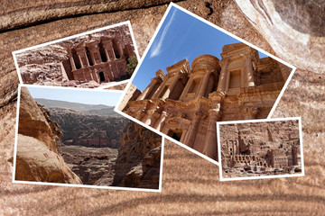 Collage on a sandstone of the rock desert in Petra, Jordan, with photos of the ancient installations in the necropolis