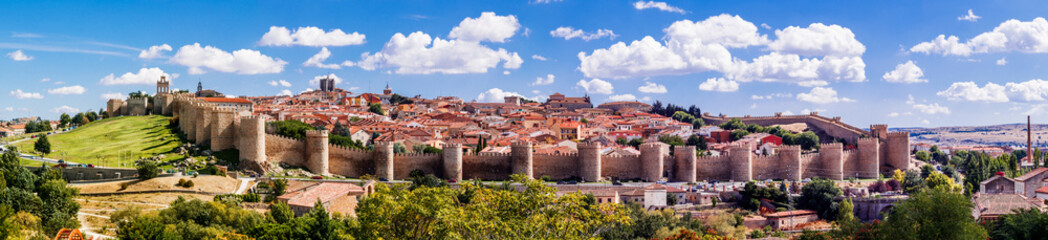 Door stickers Old building Beautiful picturesque panoramic view of the historic city of Avila from the Mirador of Cuatro Postes, Spain, with its famous medieval town walls. UNESCO World Heritage.