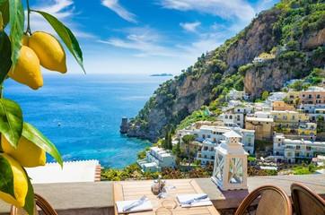 Beautiful Positano and clear blue sea on Amalfi Coast in Campania, Italy. Amalfi coast is popular...