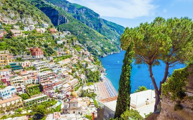 Beautiful Positano on hills leading down to coast and azure sea on Amalfi Coast in Campania, Italy....