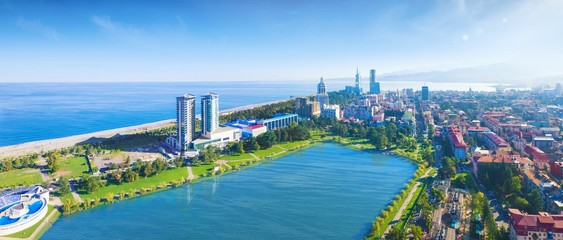 Aerial panoramic image of beautiful Batumi in Georgia made with drone in sunny summer weather.