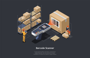 Isometric warehouse manager or warehouse worker with big barcode scanner is checking goods. Process of scanning, loading and unloading goods. Stock taking job. Vector illustration