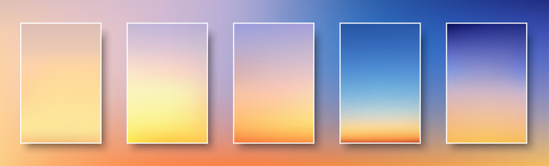 Set of colorful sunset and sunrise sea. Blurred modern gradient mesh background paper cards. Fotomurales