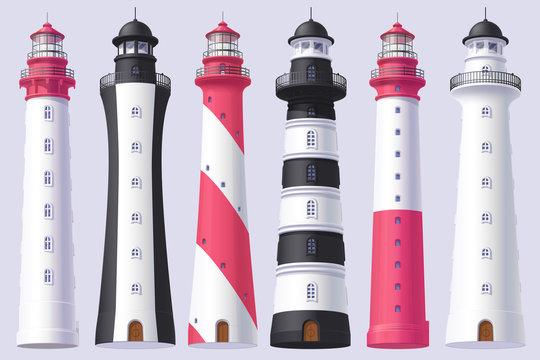 vector Lighthouse, light house, beacon set