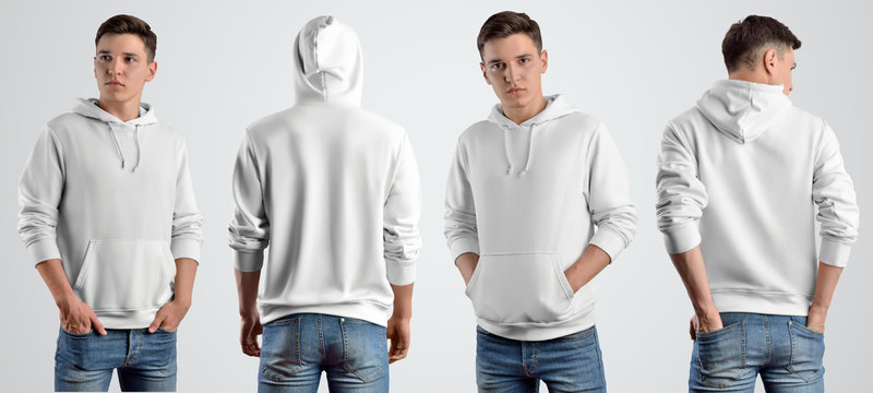 Template white hoodie on a young guy, front and back view.