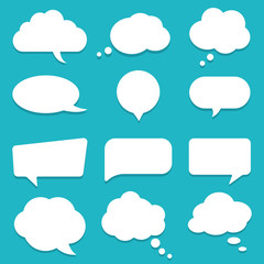 Set of speech bubble, textbox cloud of chat for comment, post, comic. Dialog box icon, message template. Different shape of empty balloons for talk on isolated background. cartoon vector