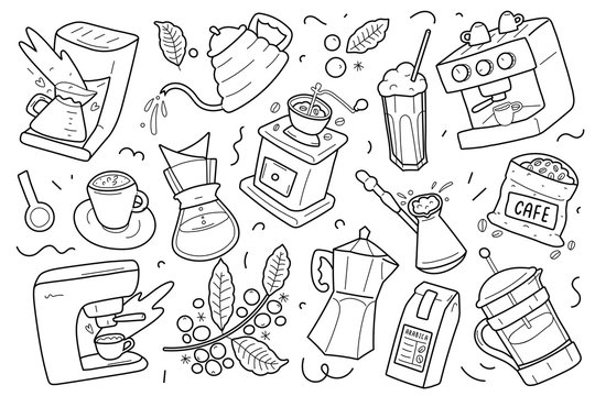 Set of coffee outline drawings, utensils, equipment and tools for various kinds of brewing coffee. Linear isolated vector cliparts. Hand drawn doodle illustrations. Coffee maker, grinder mill moka pot