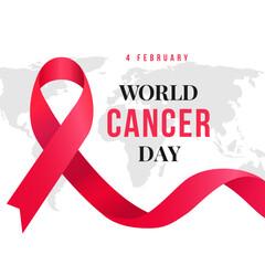 World Cancer Day poster design with ribbon symbol background vector illustration