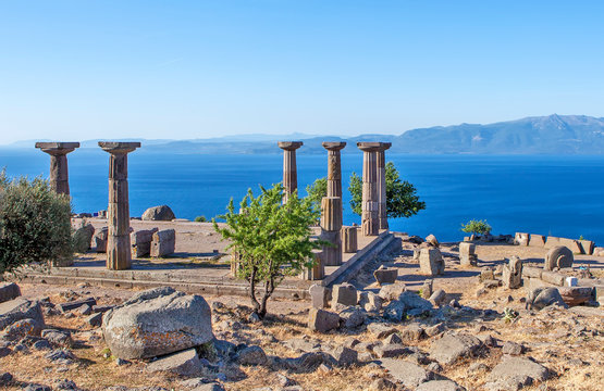Antique columns off the coast of the Aegean Sea. Troy. Turkey