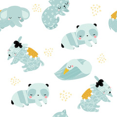 Seamless pattern with sleeping little animals. Kids pastel print. Vector hand drawn illustration.
