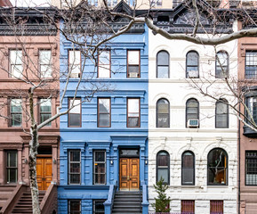 Block of colorful old buildings in the Upper West Side neighborhood of Manhattan in New York City...