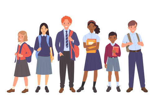 School kids collection. Group of cartoon multinational children in school uniform, standing with books and school bags. Isolated on white.