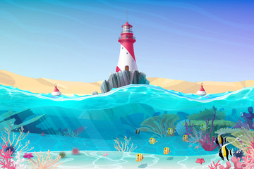 vector cartoon Lighthouse sea clipart