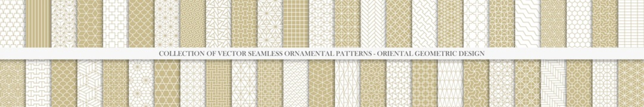 Collection of seamless geometric ornamental vector patterns. Grid oriental backgrounds. Vintage white and beige design