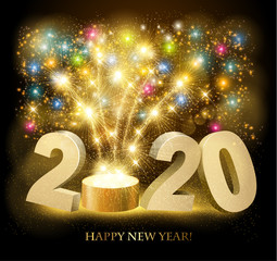 Happy New Year background with 2020 and fireworks. Vector