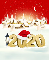 Holiday Christmas Winter Background with a Village Landscape and 2020 with Santa Hat. Vector.