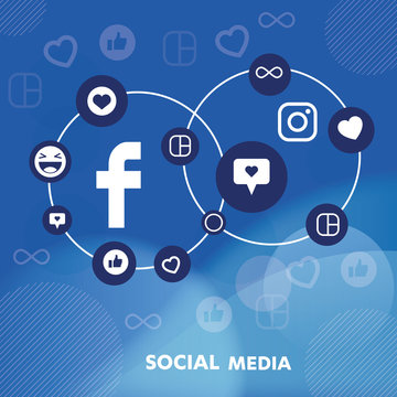 Social Media flat icons influencer. background  group star smiley face sale. Share, Like, Vector illustration Twitter, YouTube, WhatsApp, Snapchat, Facebook, instagram, tik