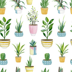 Warecolor seamless pattern with plants in pots. House plants collection for wrapping paper, wallpaper decor, textile fabric and background.