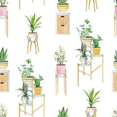 Warecolor seamless pattern with plants in pots. Interior house plants collection for wrapping paper, wallpaper decor, textile fabric and background.