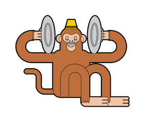 Monkey with cymbals isolated. Musical Circus Monkeу. vector illustration