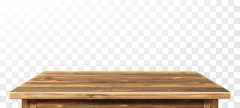 Wooden table top with aged surface, realistic vector illustration. Vintage dining table made of darkened wood, realistic plank texture. Empty desk top isolated on white wall.