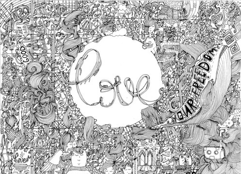 doodle black and white doodle abstract illustration with the love in the circle centre