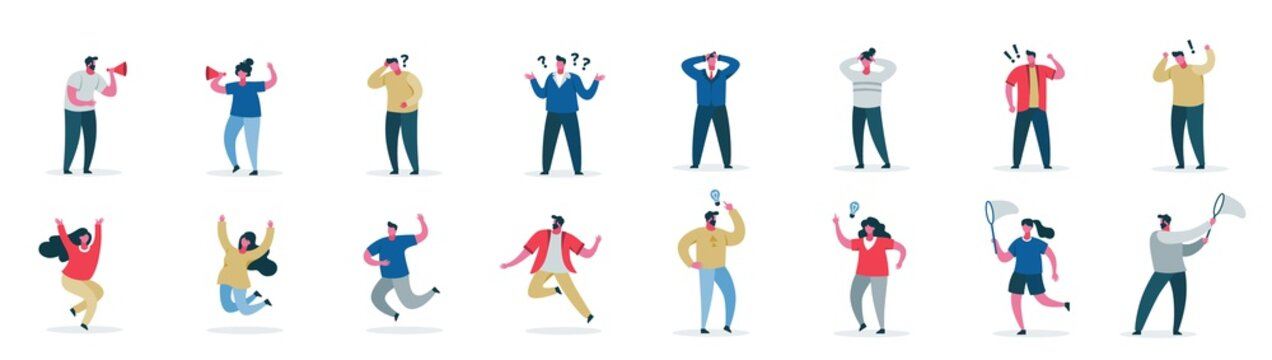 Male and female cartoon character showing different emotion set vector flat illustration. Collection of modern casual people in various poses isolated on white