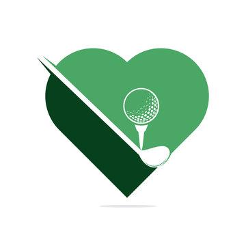 Golf love logo design. Golf championship or golf tournament sign.