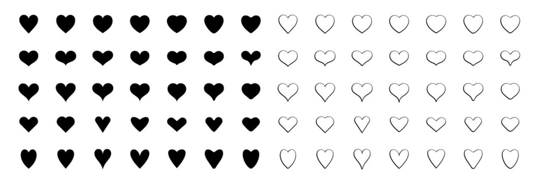 Vector set of hearts. Abstract symbols of love and health. Different icons with a narrow, pointed and rounded shapes. Flat symmetrical elements for wedding designs and   celebration of Valentine's Day