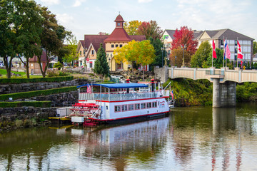 Frankenmuth, Michigan, USA - October 9, 2018: Frankenmuth cityscape with the Bavarian Belle Riverboat.