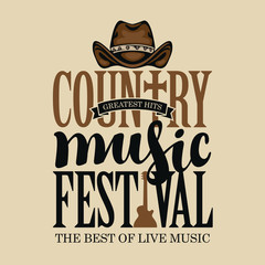 Vector poster for festival of country music on a light background in retro style. Creative lettering for t-shirt design with cowboy hat and electric guitar