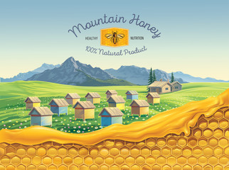 Bee apiary in the mountains landscape with honeycomb in the foreground and a symbolic simplified image of a bee as a design element