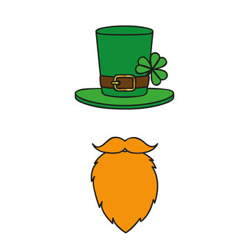 leprechaun character face with red beard and hat with clover on white background vector illustration EPS10
