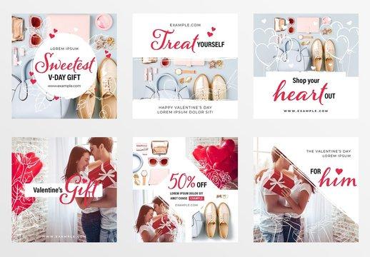 Valentine's Day Social Media Post Layout Set