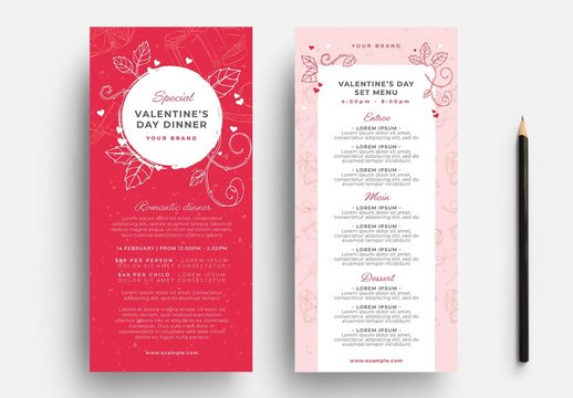 Pink and Red Valentine's Day Menu Layout with Floral Line Art Illustrations