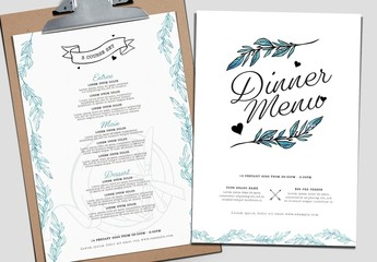Red and White Valentine's Day Menu Layout with Watercolor Leaf Illustrations