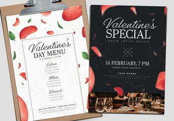 Black and White Valentine's Day Menu with Rose Petal Illustrations