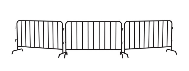 Urban portable steel barrier. Black silhouette of a barrier fence on a white background.