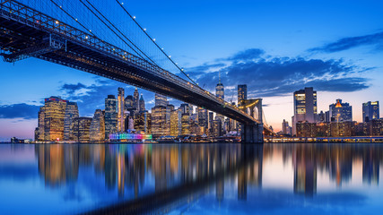 Wall Mural - skyline of new york while sunset