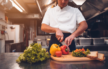 Male chef preparing a salad in the kitchen of a restaurant. Food concept