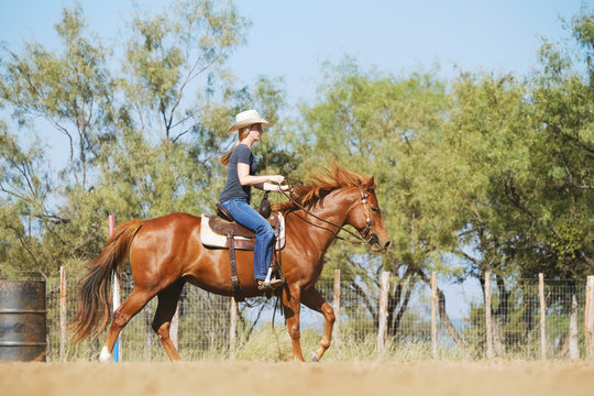 Horseback riding in outdoor arena, western lifestyle with cowgirl and horse.